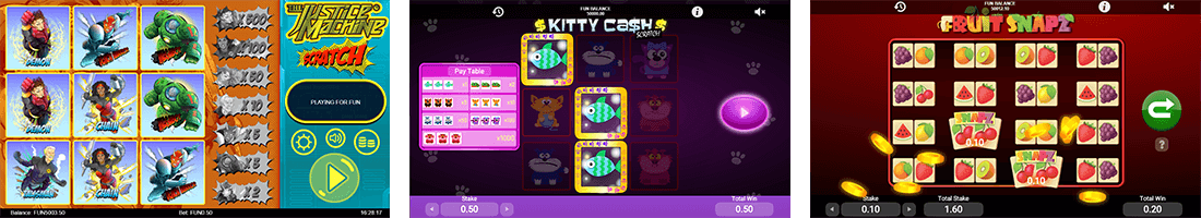 "Some of the 1x2gaming's scratch titles are ""The Justice Machine"", ""Kitty Cash"" and ""Fruit Snapz"""