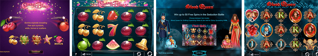 Cherry Blast and Blood Queen slot games from 1x2 Network