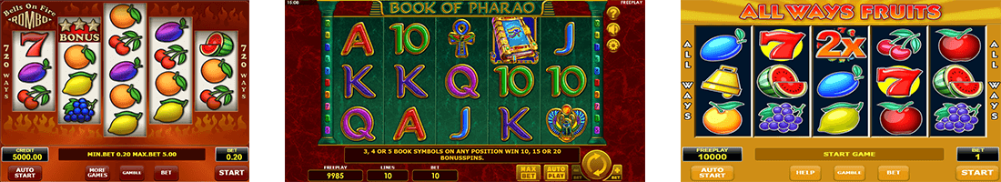 "The most popular Amatic slot games are ""Bells On Fire Rombo"", ""Book of Pharao"" and ""All Ways Fruits"""