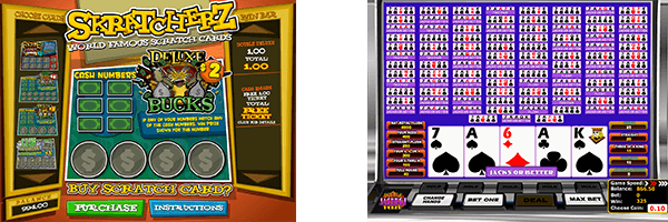 You'll find many video poker and scratch card titles at Betsoft games porfolio