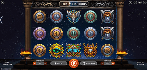 """Fire Lightning"" is a beautifully crafted slot by BGaming with 20 pay lines"
