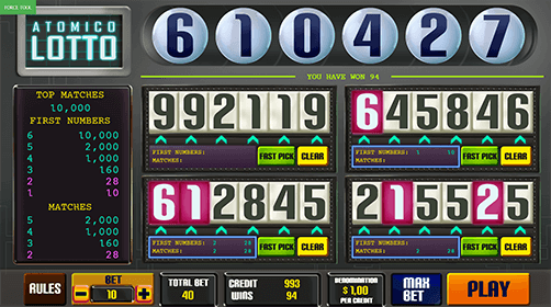 "The Caleta Gaming lotto game ""Atomic Lotto"" has four different number counters"