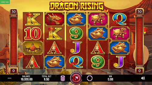 "The Caleta Gaming slot ""Dragon Rising"" has a 5x4 reel layout and 50 fixed pay lines"