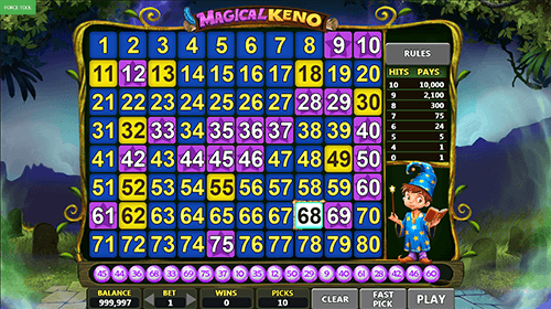"The ""Magical Keno"" game by Caleta Gaming has a single card with 80 numbers"