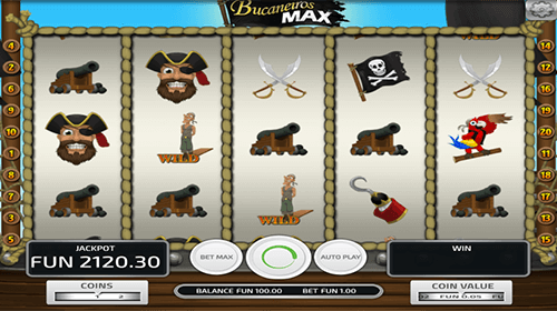 "The ""Bucanieros Max"" is a slot by Concept Gaming with 20 pay lines"