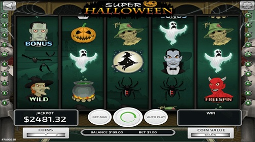 "The slot game ""Super Halloween"" by Concept Gaming has a 3x5 layout and 20 pay lines"