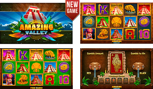 "The ""Amazing Valley"" slot by DLV has a 20 pay lines and a reel layout of 3x5"
