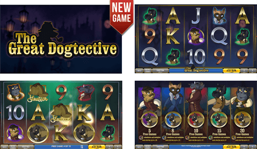 "The slot by DLV ""The Great Dogtective"" has many free spins and scatter symbols"