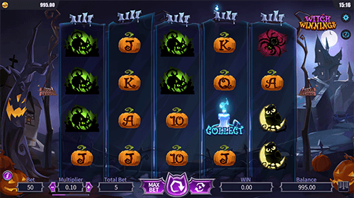 """Witch Winnings"" is a DreamTech slot with a 5x4 reel layout"
