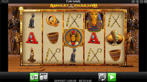 "The ""Amulet of the Pharaoh"" slot by Edict features a 3x5 reel layout"