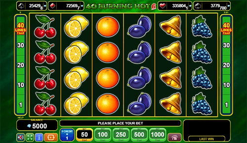 "The EGT slot ""40 Burning Hot"" features 40 pay lines, two scatter symbols and a wild symbol"
