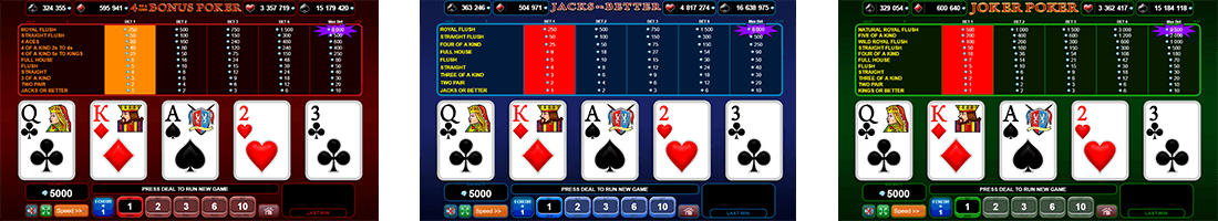 "The EGT card games section contains 3 video poker titles – ""4 of a Kind Bonus Poker"", ""Joker Poker"" and ""Jacks or Better"""
