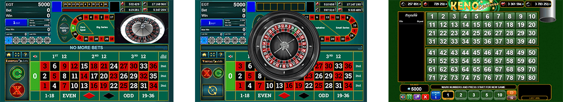 EGT has 3 released table games - Virtual Roulette, European Roulette and Keno Universe