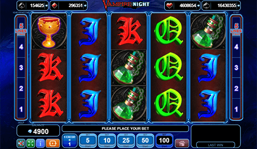 "The EGT slot game ""Vampire Night"" features 5 pay lines and a 3x5 reel layout"