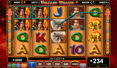 "The fantasy-themed slot ""Volcano Wealth"", developed by EGT, features 100 pay lines"