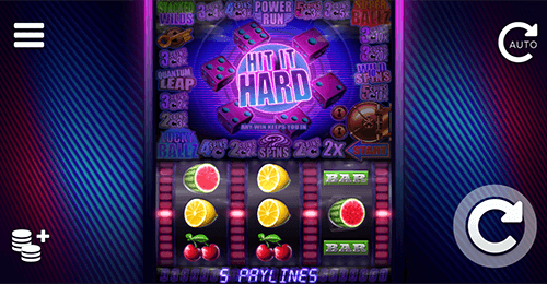 "The ELK Studios ""Hit it Hard"" slot is a retro game with 5 pay lines and many features"