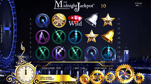 """The Midnight Jackpot"" slot by Espresso Games has a 5x3 reel layout"