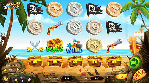 "The ""Treasure Island"" is a slot by Espresso Games with a 5x3 reel layout"