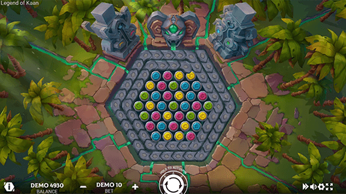 "The Evoplay slot ""Legend of Kaan"" has a hexagon symbol ""reel layout"""