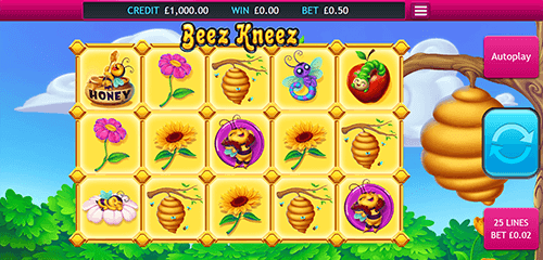 """Beez Kneez"" is an Eyecon bees & honey themed 3x5 slot with 25 pay lines"