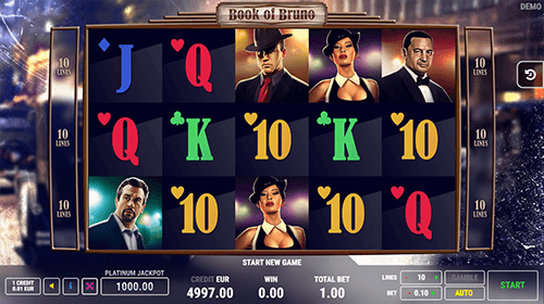 "The ""Book of Bruno"" is a 3x5 slot game by FAZI with 10 paylines"