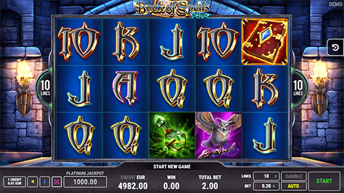 """Book of Spells Deluxe"" by FAZI is a 3x5 reel layout slot with 10 paylines"