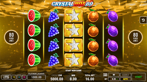 """Crystal Hot"" slot by FAZI has a 4x5 reel layout and 80 fixed pay lines"