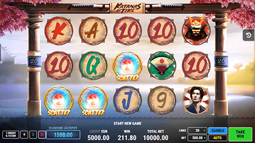 "The FAZI slot game ""Katanas of Time"" has 20 pay lines and a 3x5 reel layout"