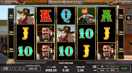 "The ""Wild West"" slot by FAZI has a 3x5 reel layout and 20 fixed pay lines"