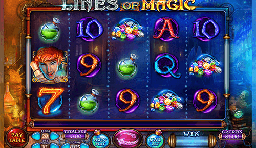 "The ""Lines of Magic"" slot by Felix Gaming offers 20 adjustable pay lines"