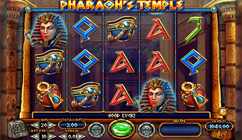 "The Felix Gaming slot ""Pharaoh's Temple"" features a 3x5 reel layout"