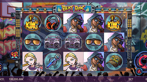 """Beat Box"" is a 5x3 slot game by Gamatron with 40 pay lines"