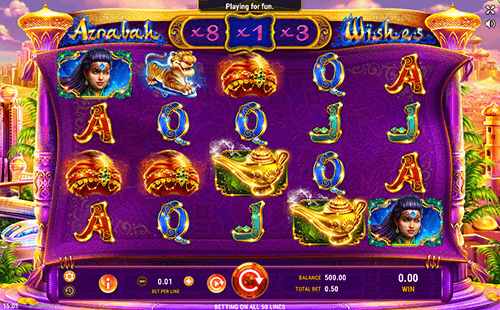 """Azrabah Wishes"" is an Arabian-styled slot from GameArt with many bonus features"
