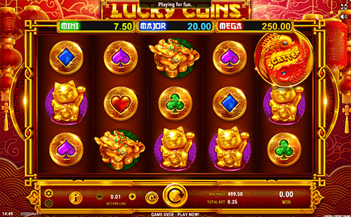 "The Asian-styled slot ""Lucky Coins"" from GameArt features a 3x5 reel layout and 25 paylines"