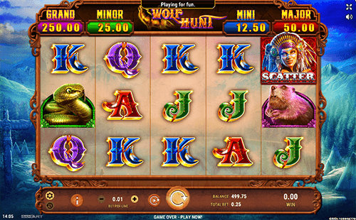 "The GameArt slot ""Wolf Hunt"" has 25 paylines and 3x5 reel layout"