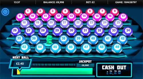 """Boss the Lotto"" Gamevy game features a layout with 49 lotto balls"