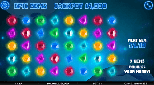 "The Gamevy game ""Epic Gems"" has a ""money doubling"" feature and 5x8 layout"