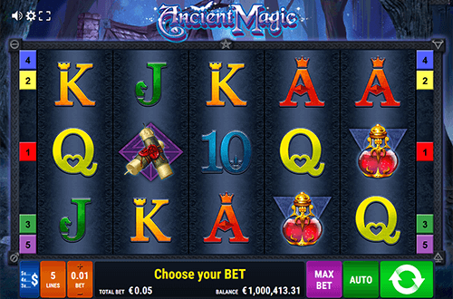 "The ""Ancient Magic"" slot by Gamomat has 5 fixed paylines and 5x3 layout"