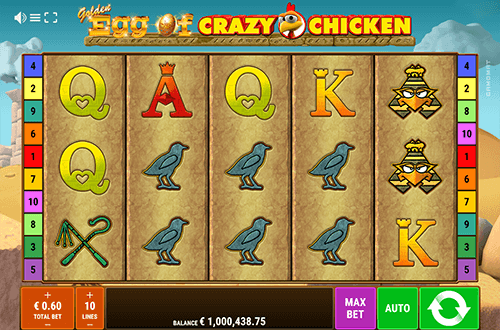 """Golden Egg of Crazy Chicken"" is a 5x3 slot by Gamomat with 10 pay lines"
