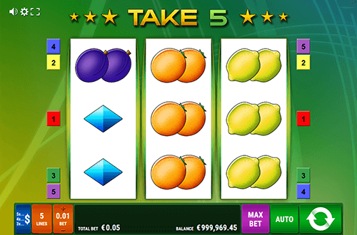 "Gamomat's slot ""Take 5"" features a 3x3 layout and 5 paylines"