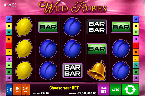 """Wild Rubies"" is a fruit-styled slot by Gamomat with 10 fixed paylines"