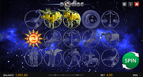 "The Genii's slot ""Zodiac"" features 20 paylines and a 3x5 reel layout"