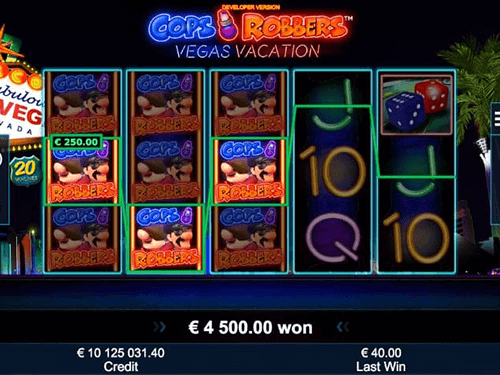 """Cops 'n' Robbers Vegas Vacation"" is a Greentube slot with 20 win lines"