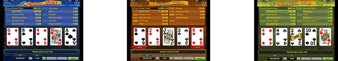 Greentube has 3 video poker titles