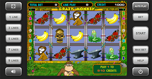 "The ""Crazy Monkey"" is a 3x5 reel slot by Igrosoft with 9 pay lines"