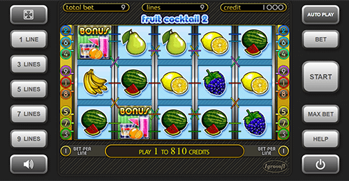"The Igrosoft slot ""Fruit Cocktail 2"" has 9 pay lines"