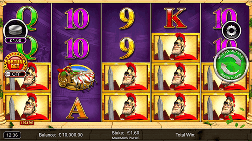 """Maximus Payus"" is an Inspired slot with a 4x5 reel layout and up to 1024 win ways"