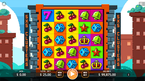"The ""Blocky Block"" slot by KA Gaming has five reels and five rows"