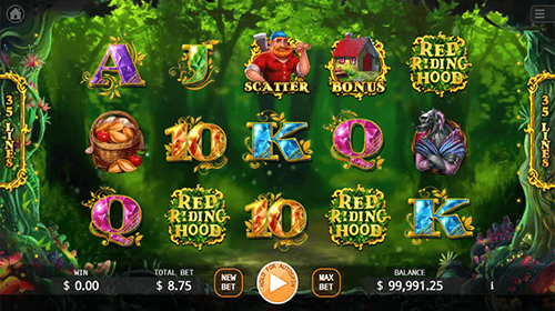 """Red Riding Hood"" is a 3x5 reel layout slot with 35 paylines made by KA Gaming"