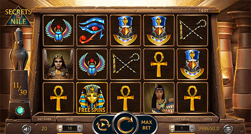 """Secrets of the Nile"" is a Leap Gaming 3x5 layout slot which offers 20 pay lines"